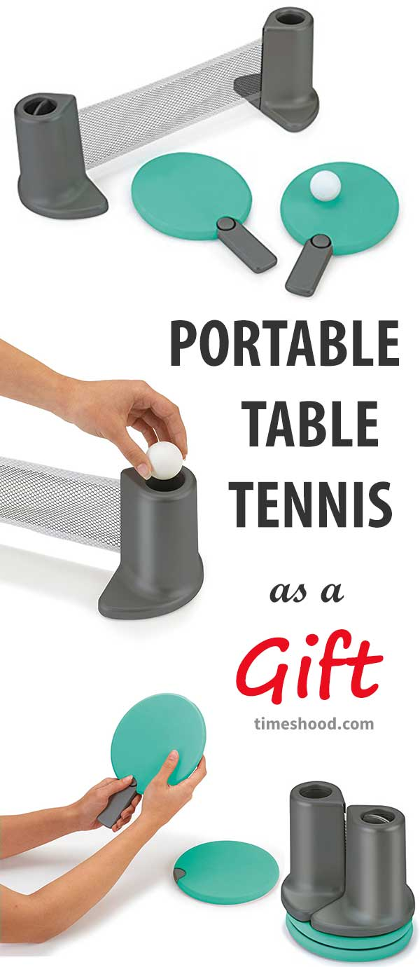 Portable Table Tennis Gift Idea. Gift ideas for dad, grandpa, coworker, boss, friends. Christmas Gift Ideas. Thanksgiving Ideas.