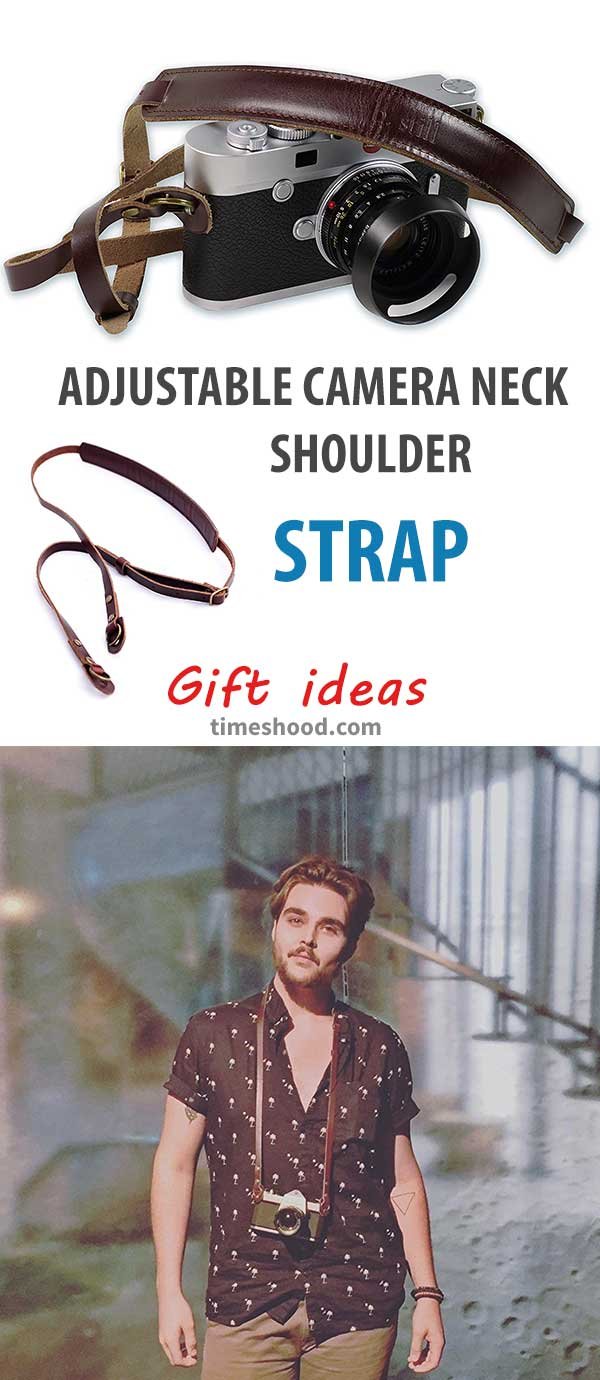 Awesome handcrafted premium leather camera strap. Gift for photographers. Cool and useful gift ideas.