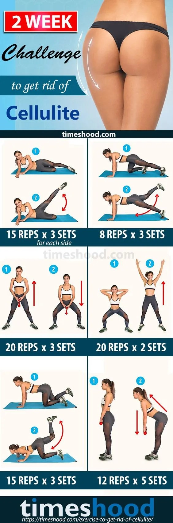 2-Week Cellulite Challenge. How to get rid of cellulite on buttocks and  thighs fast? 6 Exercise, 14