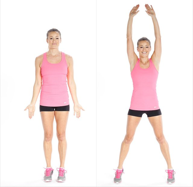 Quick morning workouts for lazy people to start a day actively. Jumping jacks exercise for perfect warm up. Easy workouts plan for beginners to start comfortably. Beginners workouts plan for weight loss.