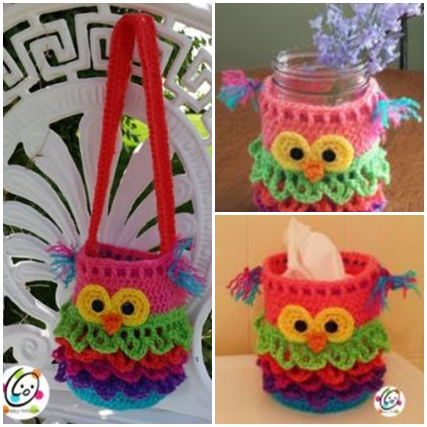 Crochet owls free pattern bags, tissue bag, garden hanging, and so many crazy useful ideas. Best crochet owl pattern ideas. Handmade crochet owl design.