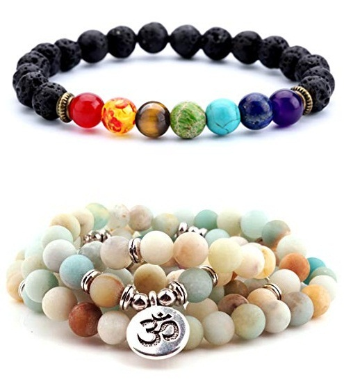 Powerful yoga bracelets to raise your vibration, energy, and maintain inner peace. Protective beads bracelets for yoga lover. Helpful in yoga and mediation. Best gift for yoga lover.