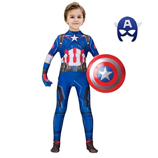 Captain America classic muscle costume for your little kid. This costume is making imaginary character real. Find 10 more Avengers kids costume ideas for Halloween.