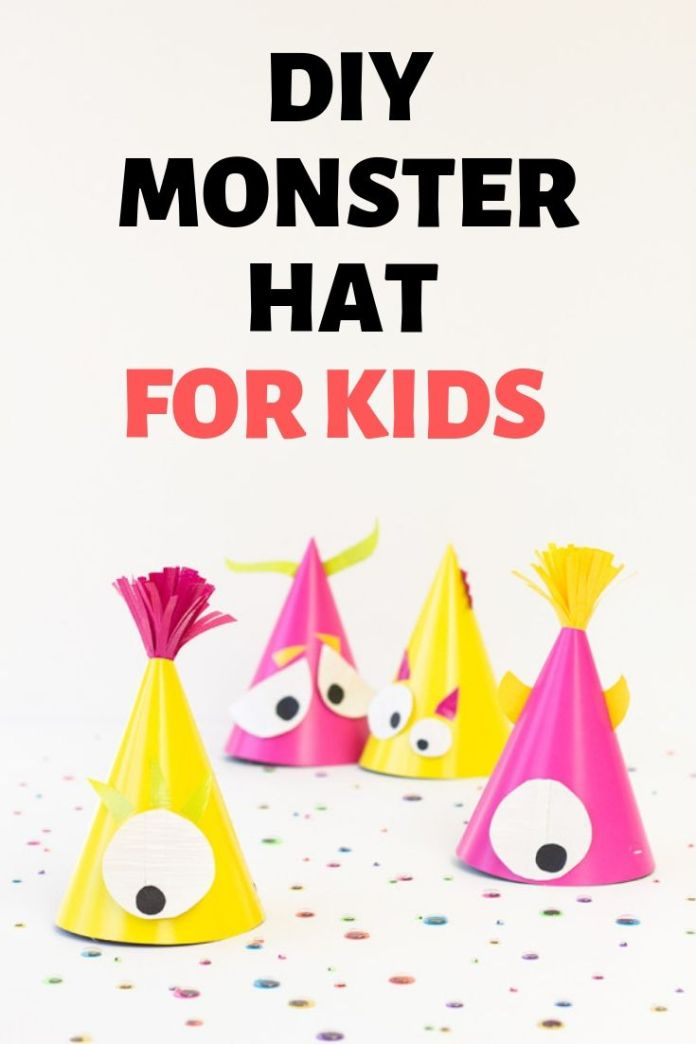 Cute DIY party monster hat for kids to wear on Halloween party. Halloween party decoration and crafts ideas for kids. Find more 15 easy Halloween craft ideas for kids.