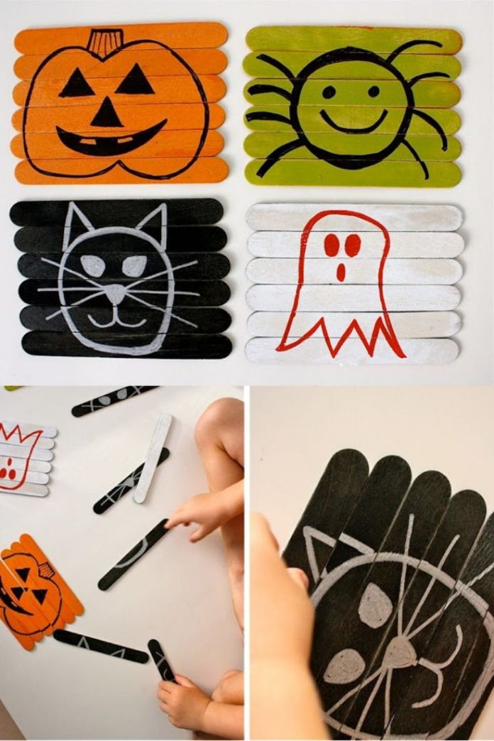 DIY Reversible puzzle craft ideas for kids. Try these easy Halloween craft for your kids to enjoy and find the right match. Find more 15 Halloween party craft for kids.
