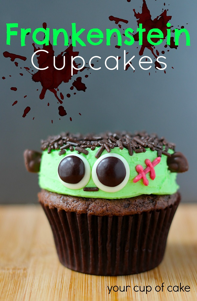 Cuties Frankenstein Cupcakes! Easy, fun, and spooky Halloween cupcakes. Spooky Halloween Recipes ideas.