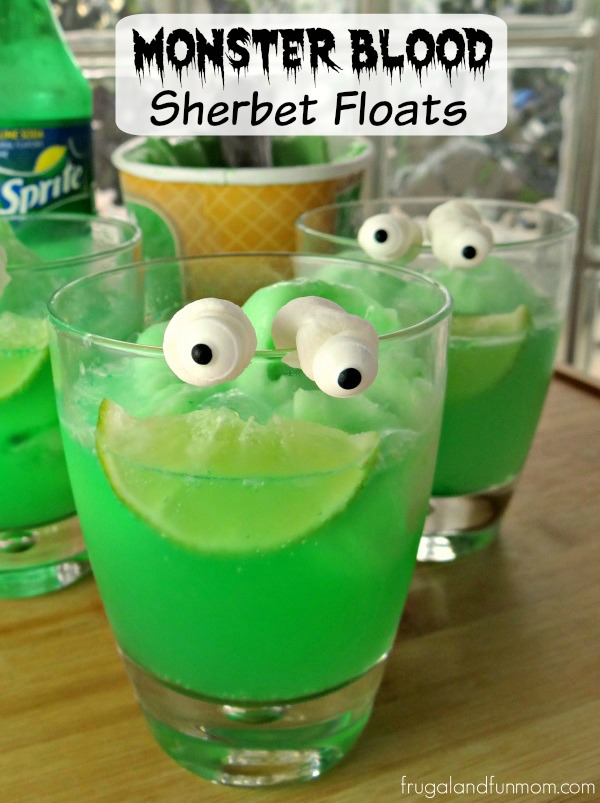 Goosebumps Inspired Monster Blood Sherbet Floats. Holiday recipes ideas. Funny Halloween Drinks ideas for Kids. Happy Halloween!