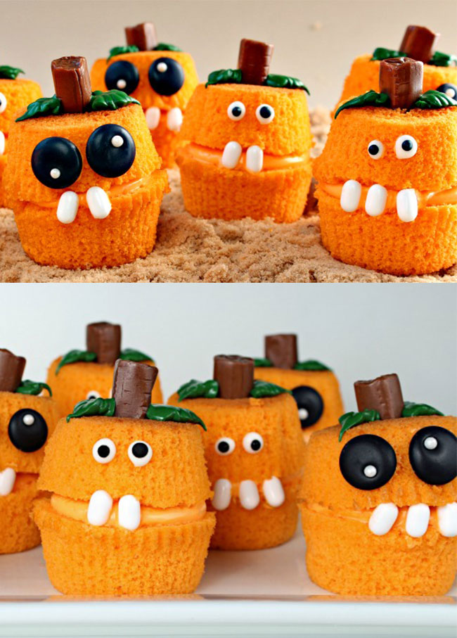 Pumpkin Patch Cupcake Poppers. Easy, fun, and spooky Halloween cupcakes. Amazing Cupcake Recipes Ideas for Halloween.