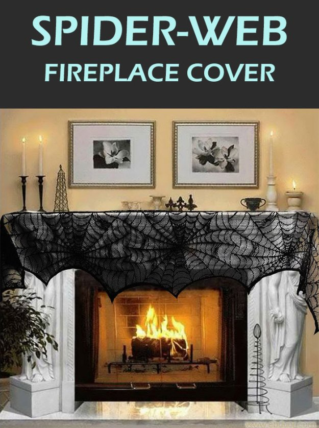 Fun spooky black lace spider-web fireplace cover for Halloween party decorations. Best spooky party accessories for Halloween night. Find more haunted decorations ideas.