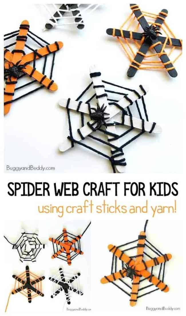 Spider web craft for kids. Try these fun and easy Halloween craft for kids that encourages fine motor skills practice made with Popsicle sticks and yarn. These are super simple to create and make great Halloween decorations for the home or classroom.