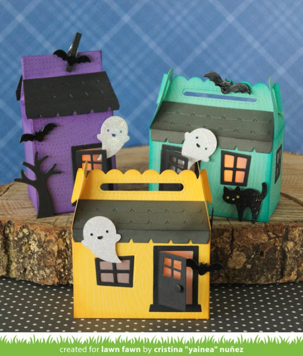 Create spooky and cute house trick and treat boxes. Haunted house crafts ideas for kids. Best party decoration ideas for kids.