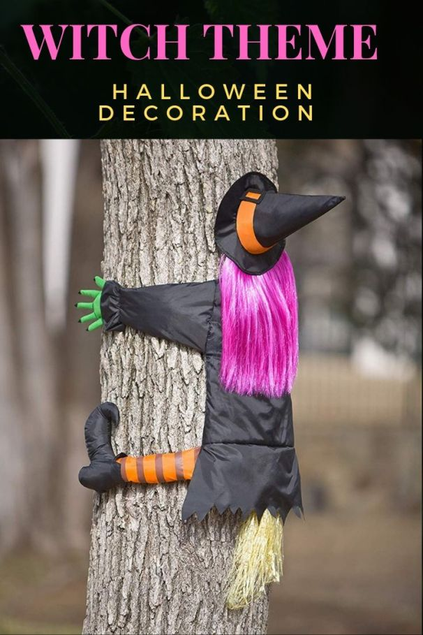 This crashing Witch Halloween decoration is an eye catching sight for all passers by. Wonderfully purple hair, bright green hands, and straw-look broom, will come fully assembled for your garden decoration.