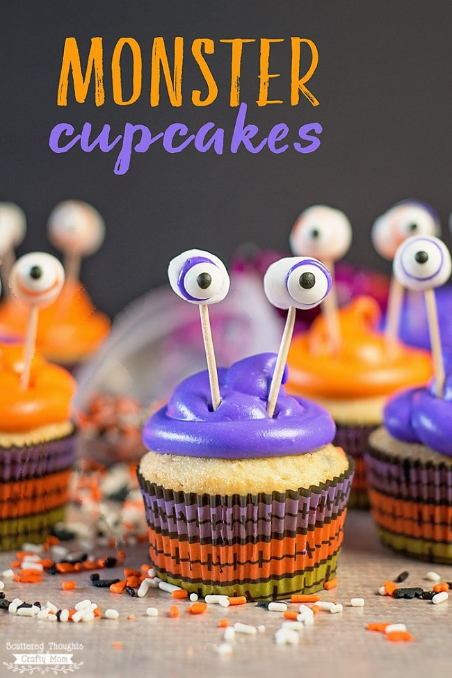 These adorable Monster Cupcakes are a snap to make and are perfect for any Halloween themed occasion! Easy, fun, and spooky Halloween cupcakes recipes.