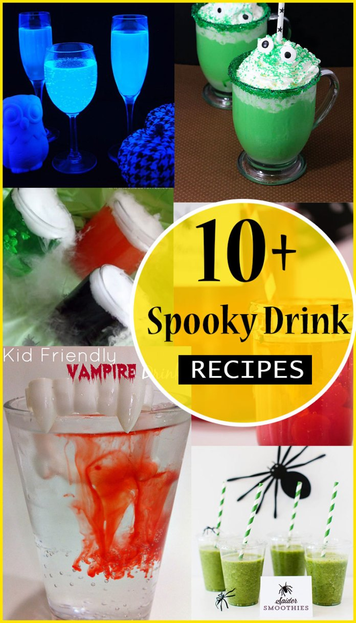 10+ Spooky drinks recipes ideas for Halloween parties. Non-alcoholic and so much fun! Funny Halloween Drinks ideas for Kids. Happy Halloween!