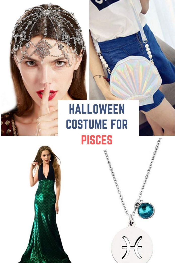 Pisces - A water sign need to look always in mermaid costumes on Halloween. This fish gown, and water drops head jewelry look is dam hot to flaunt anyone on Halloween party. Find 12 more Halloween costume for your zodiac.