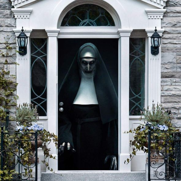 Spook your house with this haunted ghost Halloween door decoration. Spread horror with this terrified ghost on Halloween. Find 10 more Halloween door decoration ideas from Amazon.