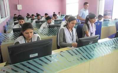 Students of IES College giving test for online survey conducted by AICTE and Stanford University