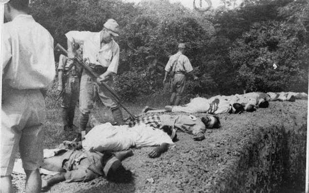 Indian PoWs being bayonated,image