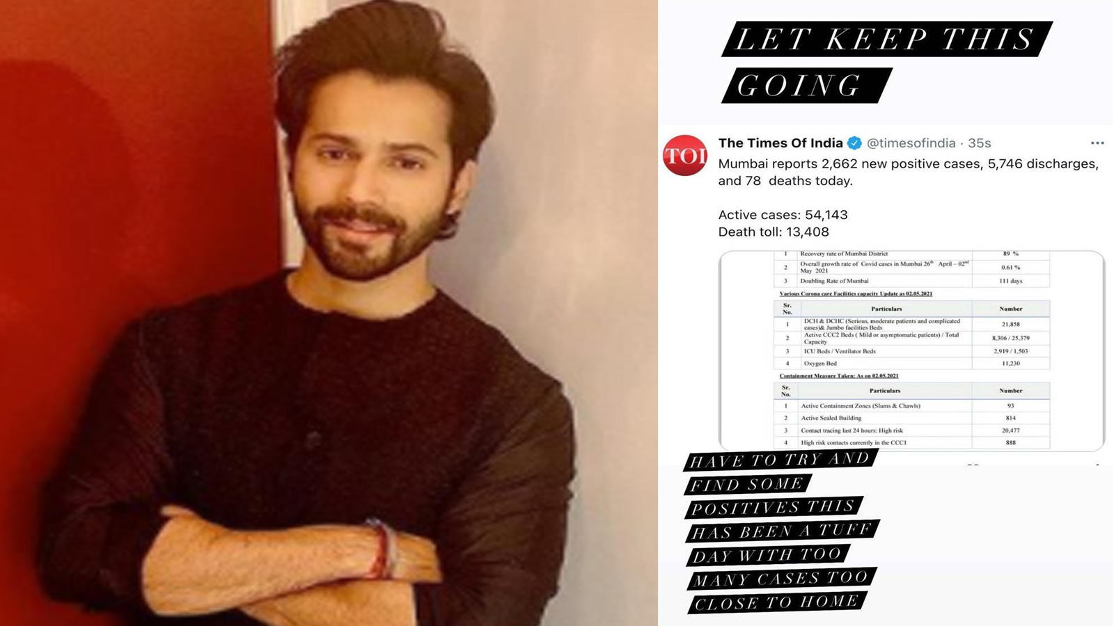 Varun Dhawan rejoices as coronavirus infections in Mumbai see a decline, encourages all to 'keep going' | Hindi Movie News – Bollywood – Times of India