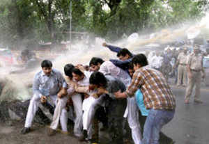 BJP workers protest near PM's residence