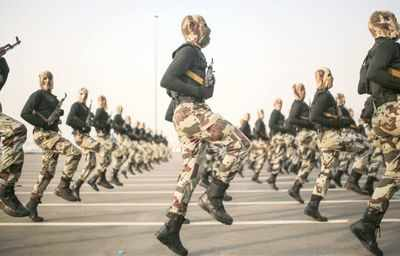 Saudi Arabian soldiers during a military parade. (AP file photo)
