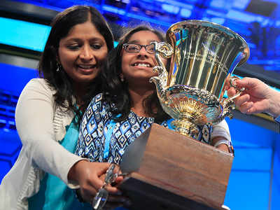 12-year-old Ananya Vinay spells 'marocain' to win the US National Spelling Bee