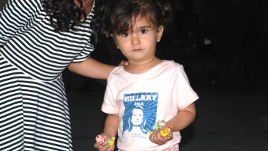 Della Dena, 2, of La Jolla sports her Hillary 2016 shirt.