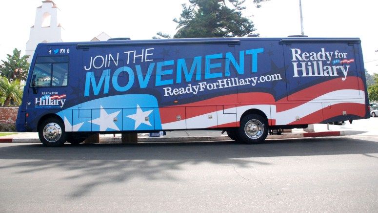 """""""Ready for Hillary"""" bus was parked on Girard Avenue."""