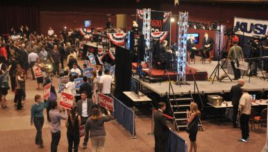 Reflecting the smaller voter turnout, Election Central in Golden Hall wasn't as packed as usual. Photo by Chris Stone