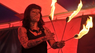 Fire eater in Worlds of Wonder sideshow at the San Diego County Fair.