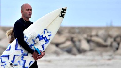 A surfer waits his turn to compete in the Pendleton Surf Club competition.