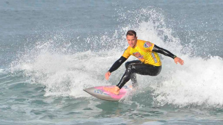 Clinton Manley of the U.S. Air Force catches waves in the first heat of the Pendleton Surf Club's inaugural competition.