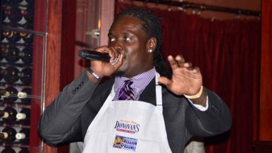 Melvin Ingram thanks guests for attending and for their generous donations to his Mission Possible Foundation.