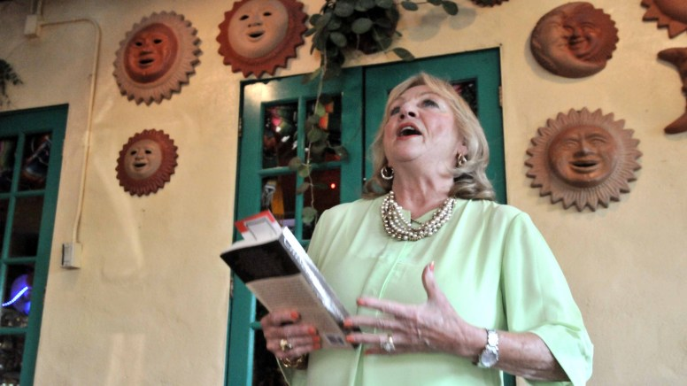 Danuta Pfeiffer speaks to members of the San Diego Press Club at an Old Town restaurant.
