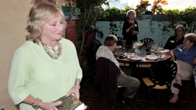 Danuta Pfeiffer listens to tributes at San Diego Press Club event in Old Town.