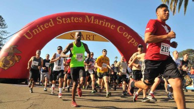 About 2,000 runners took on the Marine Corps Boot Camp Challenge. Photo by Chris Stone