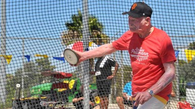 Pellmann made three discus throws, increasing his distance with each toss. Photo by Chris Stone