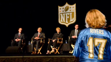 A Chargers fan speaks at the NFL forum at the Spreckels Theatre downtown. Photo by Chris Stone