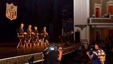Rafael Alvarez, founder of Bolt Pride, speaks to the NFL representatives. Photo by Chris Stone