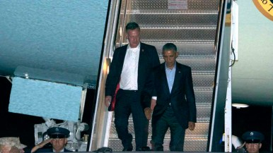 President Obama arrives at Miramar Marine Corps Air Station with Rep. Scott Peters. Photo by Chris Stone