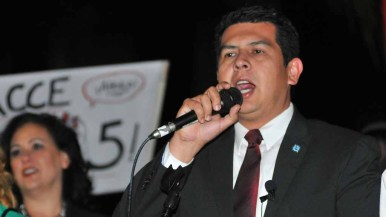San Diego City Councilman David Alvarez speaks at the Fight For $15 rally. Photo by Chris Stone