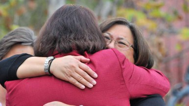 Toni Atkins was embraced by a two dozen female officeholders and former politicians. Photo by Chris Stone