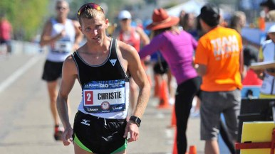 Nick Christie fell behind late in men's Olympic Trials 50K race walk. Photo by Ken Stone