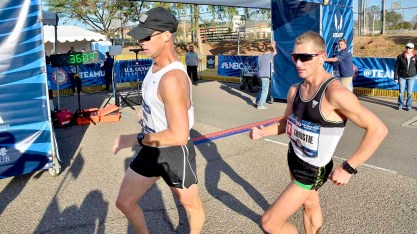 John Nunn and Nick Christie of El Cajon quickly went to the lead at men's Olympic Trials 50K race walk. Photo by Ken Stone