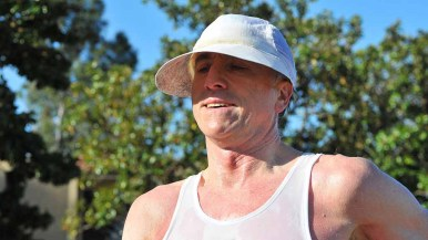 Jon Matthews kept eyes in shade at men's 50K race walk. Photo by Ken Stone