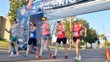 Women's entrants at start of 50K race walk national championships.