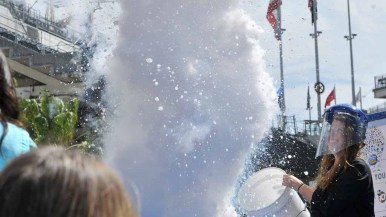 "A member of the Reuben H. Fleet Science Center set off a liquid nitrogen explosion as part of their ""Don't Try This at Home!"" show. Photo by Chris Stone"
