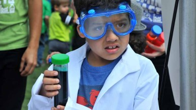 Gabriel Puga, 6, dresses up like a scientist. Photo by Chris Stone