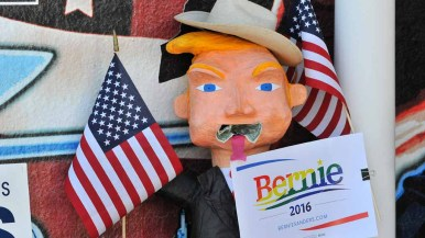 A Donald Trump pinata greeted Democratic caucus-goers in May. Photo by Chris Stone