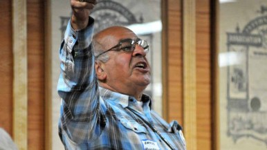 Ahmad Houshmand gives an impassioned 30-second speech, but wasn't selected as a potential delegate. Photo by Chris Stone